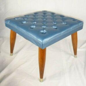Vtg Mid Century Modern Ottoman Footstool Steel Blue Vinyl Tapered Legs 16x16