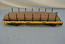 """LOGGING TRAIN CAR YELLOW BALTO & OHIO 1525 G SCALE for 1 3/4"""" TRACK"""