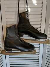 Vintage Hyde Black Figure Ice Skates Size 10 Christmas decor #2