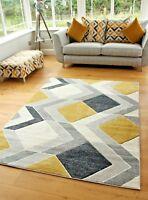 New Mustard Beige Silver Grey Modern Geometric Design Small Large Rugs Runners