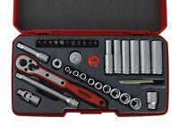 Teng Tools 1/4 Drive Deep Regular Socket Ratchet Extension Tool Set + Case