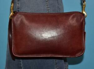 Vintage COACH BONNIE CASHIN Bordeaux Red Leather Wristlet Shoulder Purse NYC