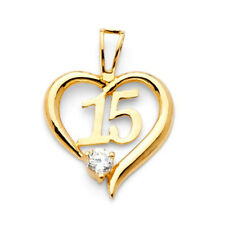 Heart Quinceanera Real 14k Yellow Pure Gold 15 Anos Charm Fancy Round CZ Pendant