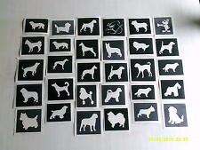 30 x dog themed stencils for glitter tattoos  Alsatian poodle chihuahua bulldog