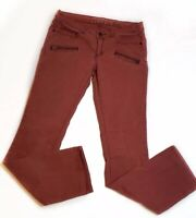 Pilcro And The Letterpress Anthropologie Pants Maroon Moto Style Zipper Pockets