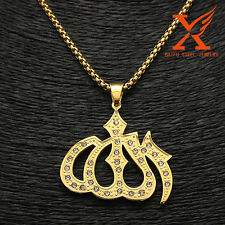 """Charms Allah Islamic Pendant 24""""Chain Stainless Steel Plating Gold Hip Hop"""