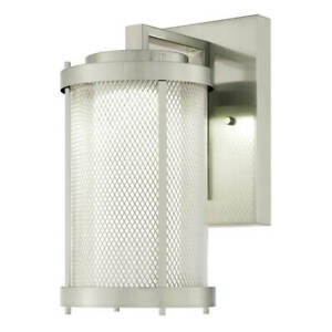 One Light Dimmable LED Outdoor Wall Fixture SKYVIEW in Brushed Nickel with Mesh