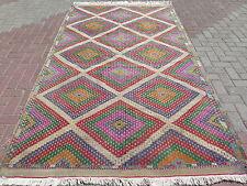 "Anatolian Turkish Oushak Kilim Geometric Wool Rug 64,5""x111,8"" Area Rugs Carpet"