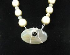 """+Handcrafted Necklace One Of A Kind Champagne Pearls/Labradorite/Agate 18 1/2"""""""