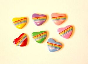 20 CANDY / RAINBOW STRIPE HEART SHAPE BUTTONS CHOICE OF COLOURS 17mm or 22mm