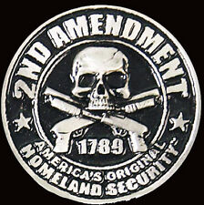 HOMELAND SECURITY 2ND AMENDMENT SKULL  BIKER  PIN