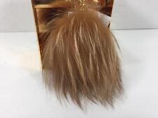 New in Box Michael Kors Gold Rabbit Fur Pom Pom Key Chain Fob Purse Charm