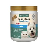 120ct NaturVet Tear Stain Eye Soft Chews for Dogs Cats plus Lutein Supplement