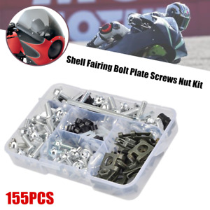 Universal Motorcycle Shell Fairing Bolt Plate Screws Thread Nut Kit For Yamaha