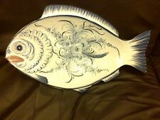 """PORTUGAL MAJOLICA LARGE FISH SERVING PLATE PLATTER WALL HANGING BLUE & WHITE 20"""""""