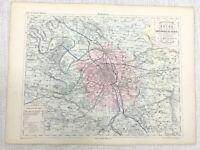 1853 Antik Französisch Landkarte Paris Stadt Versailles France Hand- Kolorierter
