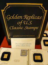LOT OF 42 22 KT GOLD POSTAGE U S CLASSIC STAMP REPLICAS + KEEPSAKE ALBUM