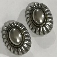Vintage TAXCO Sterling LARGE MID CENTURY MODERN EARRINGS clip ons MEXICO signed