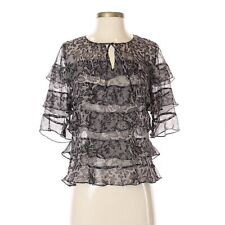 Rebecca Taylor Womens Size 0 Lace Detail Ruffle Accent Blouse 3/4 Sleeve Keyhole
