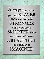 Metal sign Inspirational Braver quote metallic decorative tin wall plaque gift