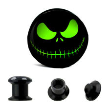 1 Pair Ghost Eyes LOGO Skull Double Saddle Ear Plug Gauge Flesh Tunnel Stretcher