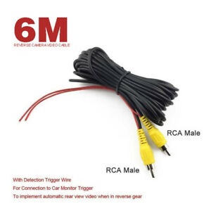 6M Car Rear View Camera Reverse Video Cable Power Cable RCA Male For Car Monitor