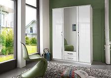 SlumberHaus German Trio White Gloss 135cm 3 Door Mirror Wardrobe with Drawers