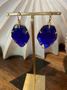 Kendra Scott Rare Cobalt Catseye Gold Corley Earrings