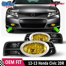 For Honda Civic Coupe12-13 Factory Bumper Replacement Fit Fog Light Yellow Lens