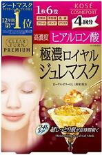 ☀KOSE Clear Turn Premium Royal Jelly & Hyaluronic Acid Face Mask 4 Sheets
