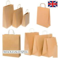 BROWN PAPER BAGS WITH HANDLES SMALL LARGE CARRIER 100 50 10 FOR PARTY GIFT SWEET
