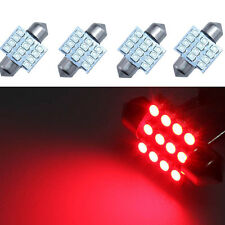 4Pcs Red 31mm 12SMD Festoon Dome Map Interior LED Light Lamp DE3175 3022 3021