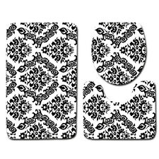 LE 3PCS/Set Classical Pattern Bathroom Non-Slip Rug+Lid Toilet Cover+Bath Mat