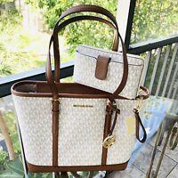 Michael Kors Women Small PVC Leather Shoulder Tote Bag Purse Handbag+  Wallet