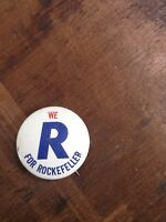"Vintage 1960's ""We R for Rockefeller""  1"" Pin Button Pin Back Free Shipping"