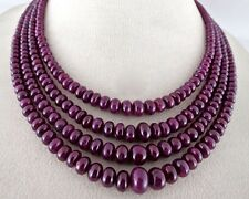 SUPER FINE RED 10 MM 4 LINE 633 CTS NATURAL UNHEATED RUBY ROUND BEADS NECKLACE