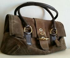 Coach leather Suede Tote Handbag Brown Large