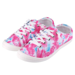 Women's Fashion Tie Dye Canvas Casual Shoes Low Top Lace-Up Comfortable Sneaker
