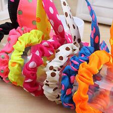 Kid Girl Korean Cute Kawaii 10PCS/LOT Rabbit Ear Hair Tie Bands Dot Bow Headband