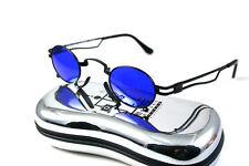 oval black retro Goth Steampunk vampire blue lens sunglasses Hi Tek ALEXANDER