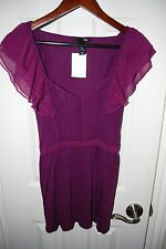 NWT H&M EURPOE Women's Purple Flutter Sleeve Bouse SIZE L
