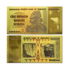 300pcs Zimbabwe One Hundred Trillion Dollar Gold Banknote Color Bill Note Gifts