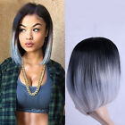 Ombre black gray Straight short bob Synthetic Hair Full Cosplay Party Wig 35cm