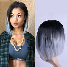 Ladies Ombre black gray Straight short bob Synthetic Full Cosplay Party Wig 35cm
