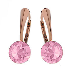 Sterling Silver Rose Gold Plated Earrings *Light Rose* Crystals from Swarovski®