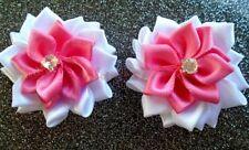 4 fleur satin  40mm blanche et rose,applique ,scrapbooking.