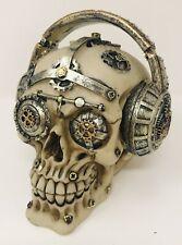 Steampunk Skull Gear Brain Head Head Phones Figurine Statue Skeleton Halloween