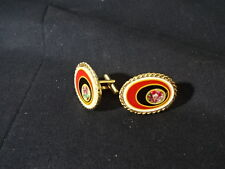 And Black,Pink In Middle Cuff links Jewelry Oval With Gold Tint Red Yellow White