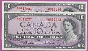 1954 Bank of Canada 10 Dollar Notes- Beattie/ Raminsky- Consecutive Pair- UNC