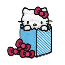 Hello Kitty In Blue Bag Iron On Embroidered Patch